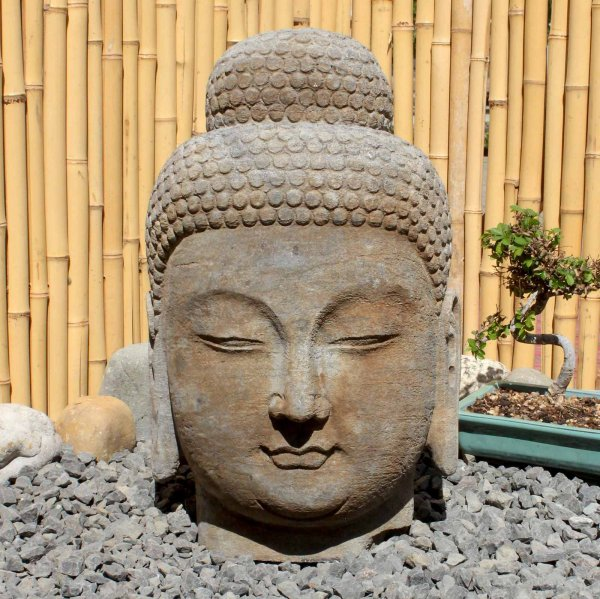 Siddharta Buddha Kopf (48cm) Naturstein Garten Statue