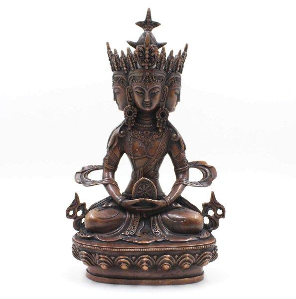 Vairocana Buddha Figur (32cm) 4 Köpfe Statue Tibet