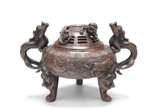 Chinesisches Drachen Räuchergefäß aus Bronze