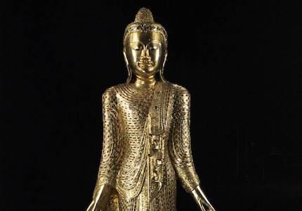 2m Thai Buddha Statue: mit Blattgold