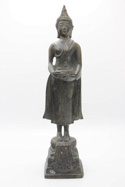 Buddha Figur mit Almosenschale, Bronze - Thailand