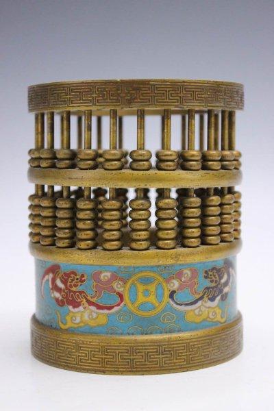 Chinesischer Abakus aus Bronze, Cloisonne