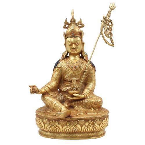 24 K Feuervergoldeter Padmasambhava Buddha (35cm) Guru Rinpoche Figur