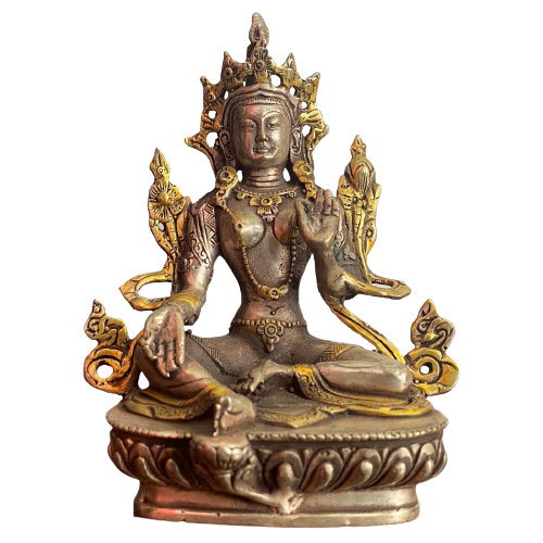 Bronze Buddha (14cm) Grüne Tara Figur