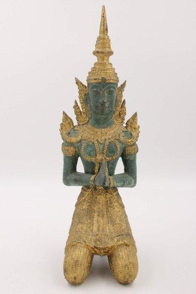 39,5cm Tempelwächter - Teppanom Figur aus Bronze, Thailand