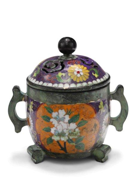 Cloisonne Räuchergefäß aus Bronze mit Blumen