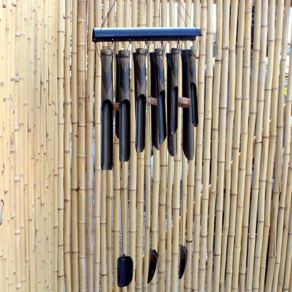 Schwarzes Windspiel Bambus (93cm) Holz Klangspiel Bali