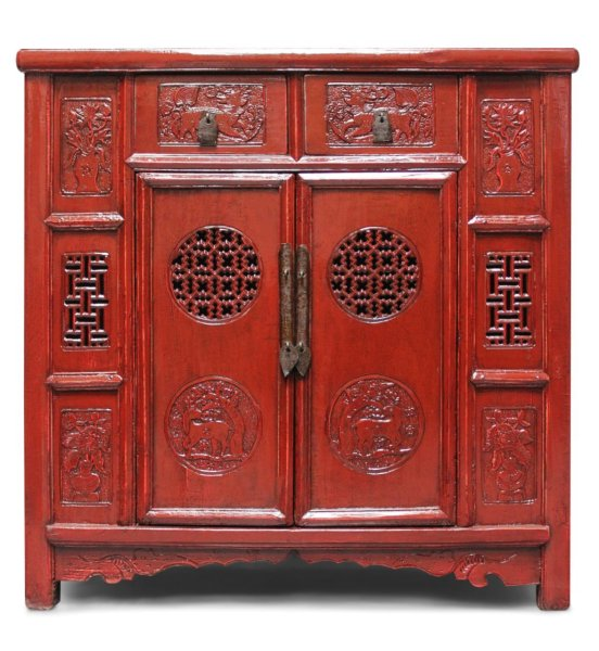 Chinesisches Highboard in Rot