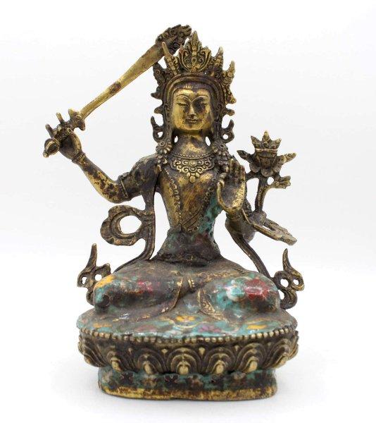 Cloisonné Manjushri Buddha (20,5cm) Bronze Figur Tibet