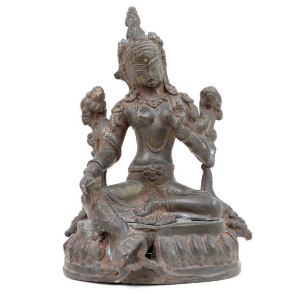 Bronze Grüne Tara Buddha (17cm) Sitzende Figur