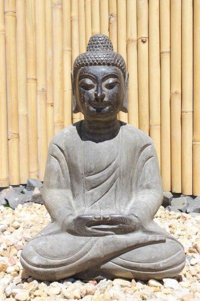 Garten Buddha Statue aus Naturstein - 60 cm groß