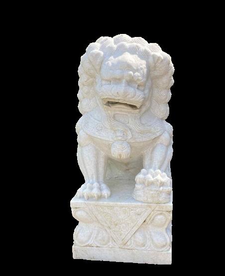 China Tempellöwe (110cm) aus weißem Marmorstein