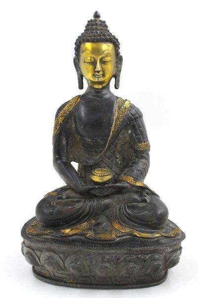 Sitzender Amitabha Buddha (32,5cm) Meditations Figur Bronze