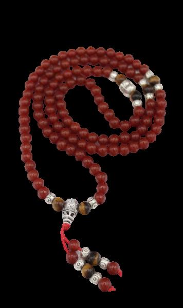 Buddhistische Mala Kette roter Achat, Tigerauge & Hotai
