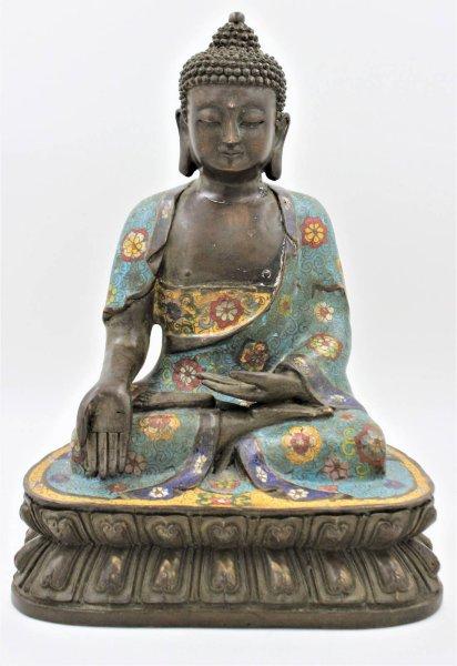 Cloisonne Bronze Buddha Statue (38cm) Geste des Gebens