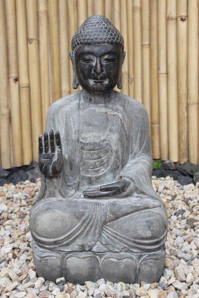Garten Buddha Statue mit Schutz Gestus 70cm groß