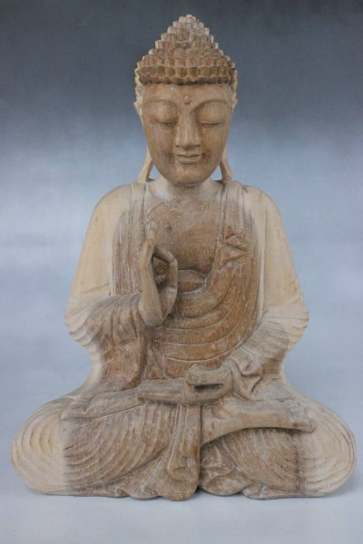 Buddha Figur aus Holz mit Vitarka Mudra