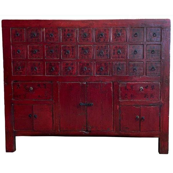 Chinesischer Apotheker Schrank (145cm) Rot aus Nachlass