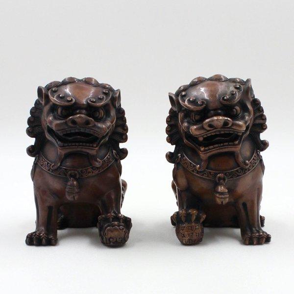 Asiatische Tempellöwen aus Bronze - Fu Dogs