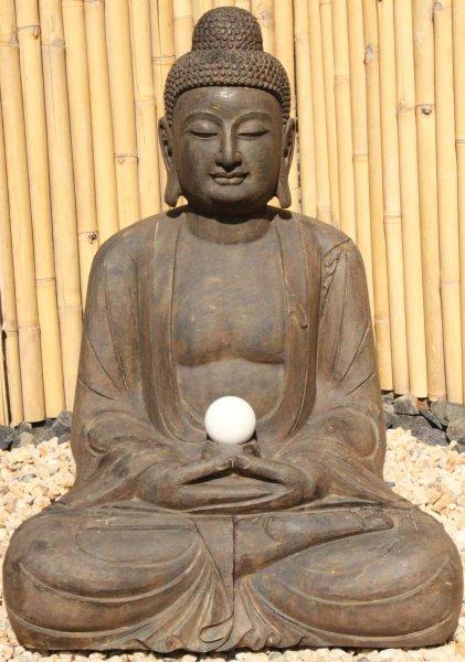 Amitabha Garten Buddha Stein-Statue mit Marmorkugel