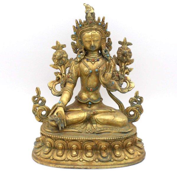 Weiße Tara Buddha Figur Bronze vergoldet, Nepal