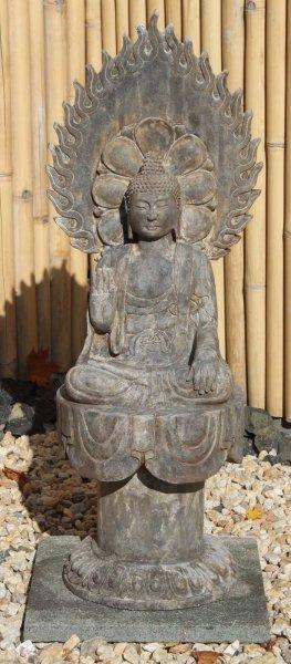 Sitzende Garten Buddha Statue mit Aureole