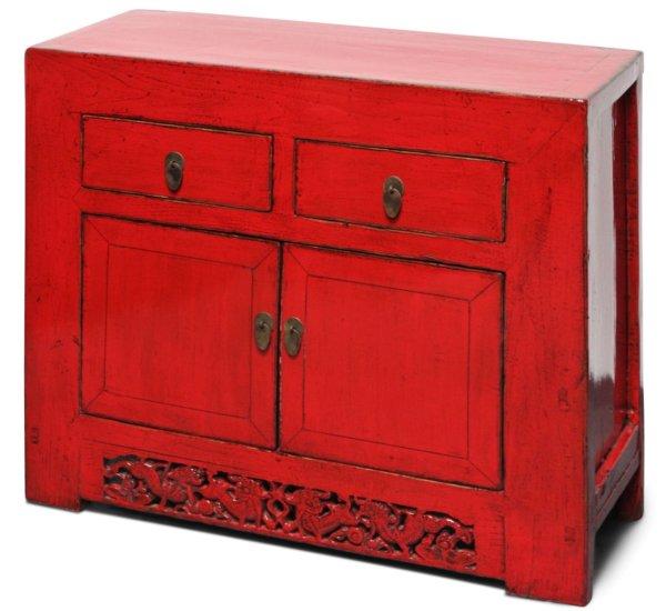 Chinesisches Sideboard Ulmen Holz, Rot
