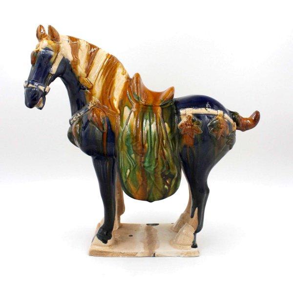 Terrakotta Tang Pferd Glasiert (38cm) China Ton Figur in Blau