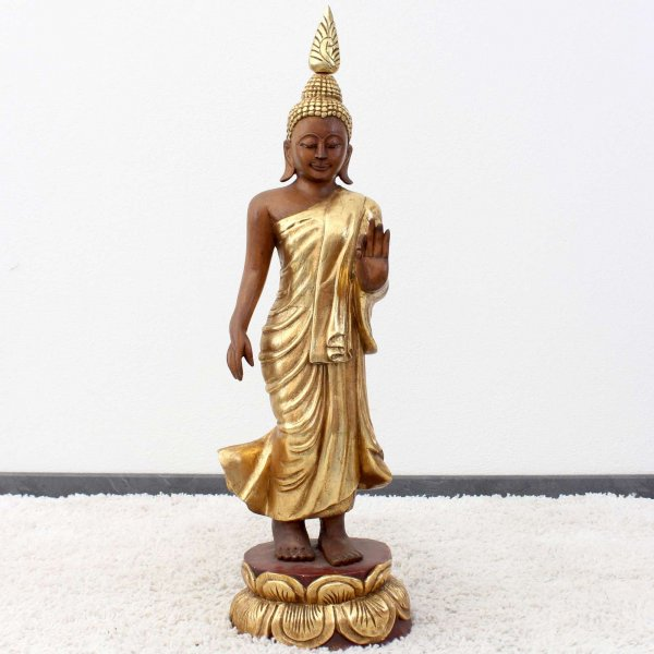Blattvergoldete Buddha Figur (89cm) Lehrende Holz Statue