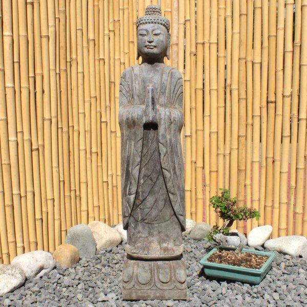 Namaskar Mudra Buddha (80cm) Naturstein Garten Statue