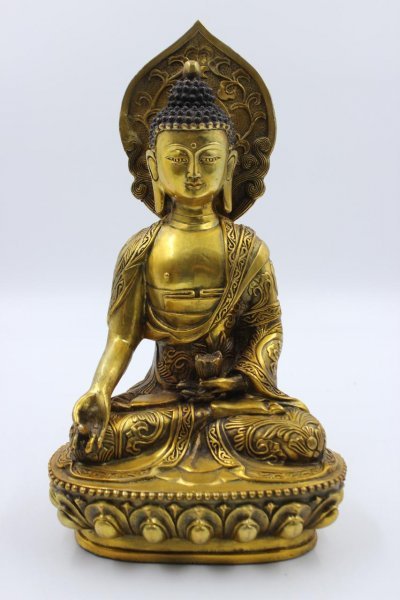 Shuni Mudra Buddha mit Aureole - Bronze
