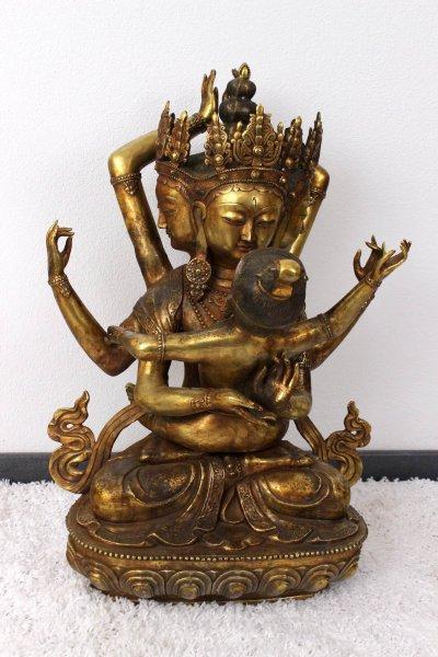 Tantrische Yab-Yum Buddha Statue aus Bronze - 80cm