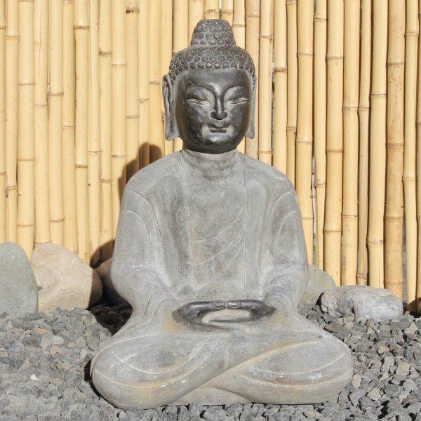 Yoga Buddha Statue aus Naturstein - Gartenfigur
