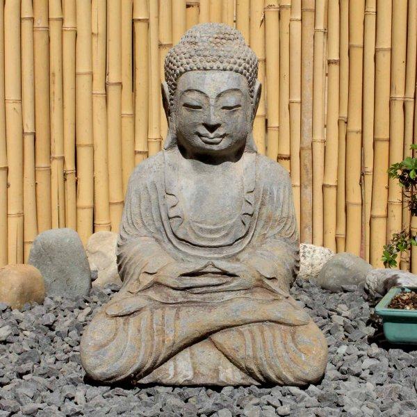 Garten Buddha Statue (44cm) Amitabha Naturstein Figur