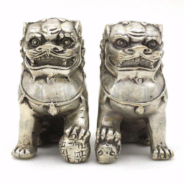 Wächterlöwen aus Bronze (7cm) Tempelwächter Fu Dogs