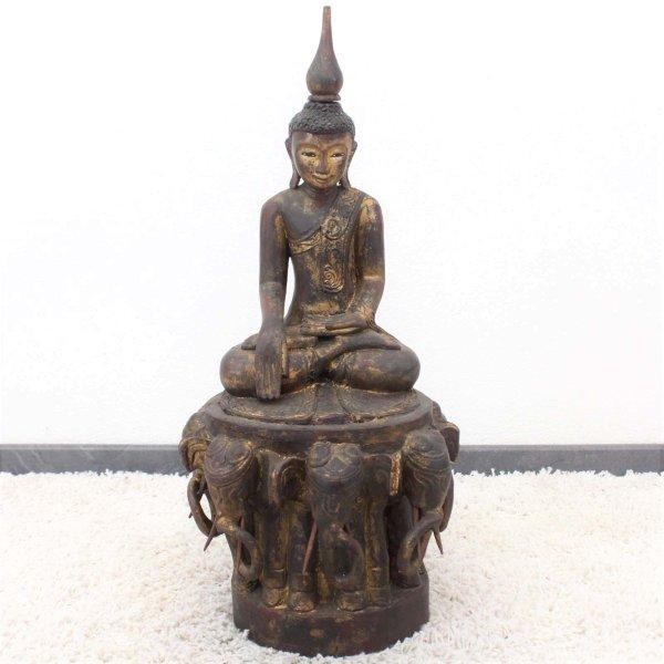 Siddharta Buddha Figur Holz (73cm) Auf Elefanten Thron