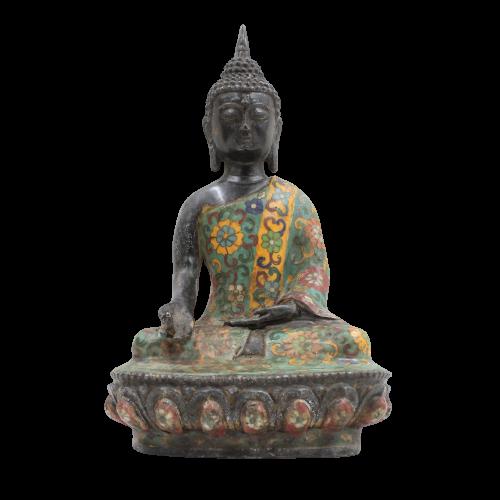 Cloisonné Buddha Varada Mudra (29cm) Bronze Figur
