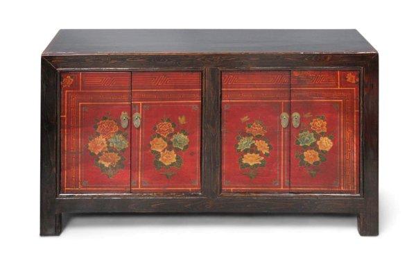 Chinesisches Sideboard mit Blumen Malerei