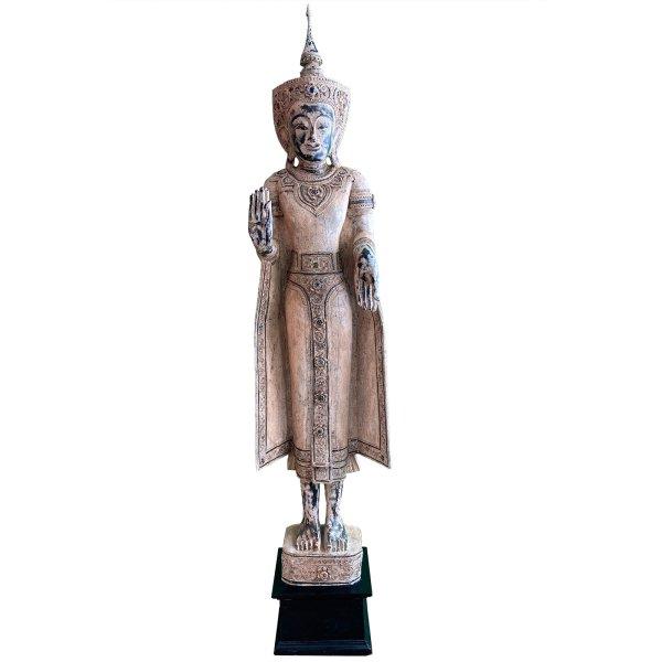 Große Holz Buddha Statue (194cm) Burma Figur - gekrönt