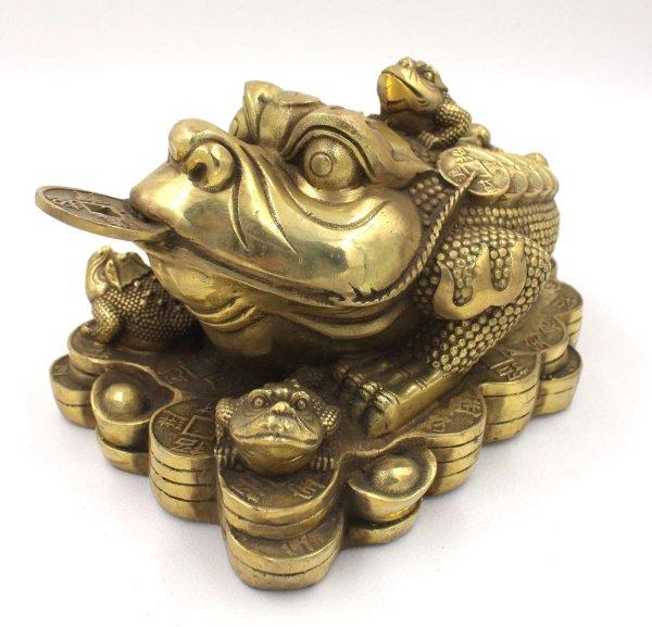 Chinesische Geldkröte aus Bronze - Glücksbringer