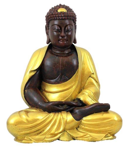Amitabha Buddha Statue (80cm) Restaurierte Holz Figur