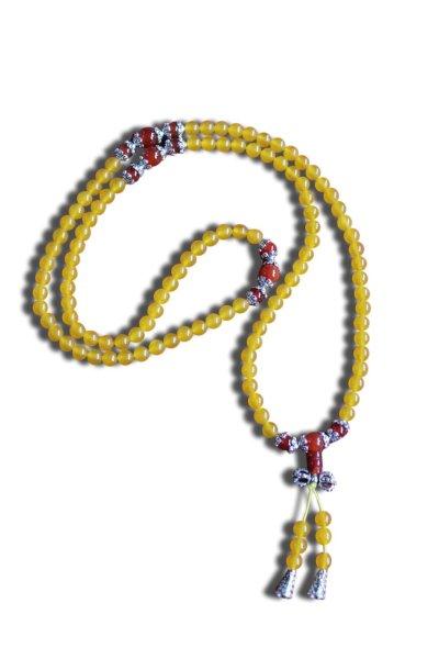 Buddhistische Halskette Mala, gelber Achat mit Dorje