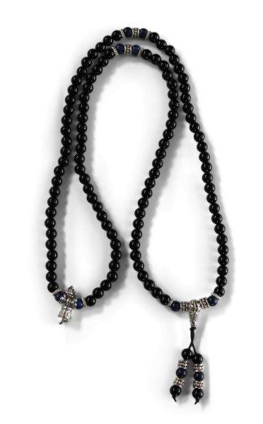 Gebetskette Mala - Obsidian & Lapis Beads