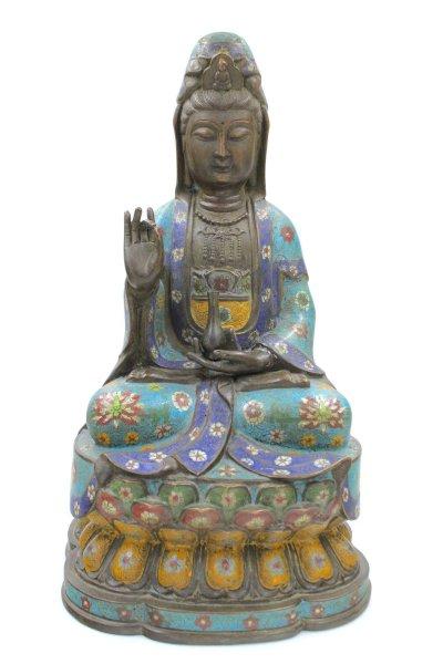Cloisonné Guanyin Buddha Figur
