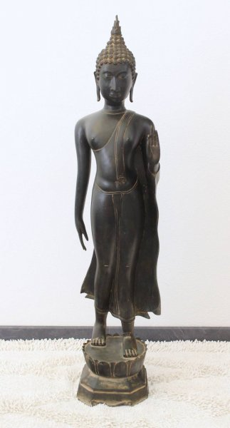 115cm große Walking Buddha Statue aus Thailand, Bronze
