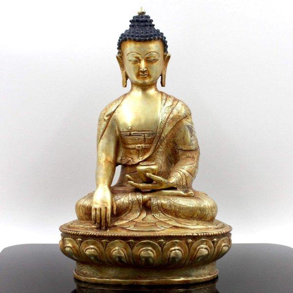 24 K Feuervergoldeter Siddharta Buddha (32cm) Bronze Figur
