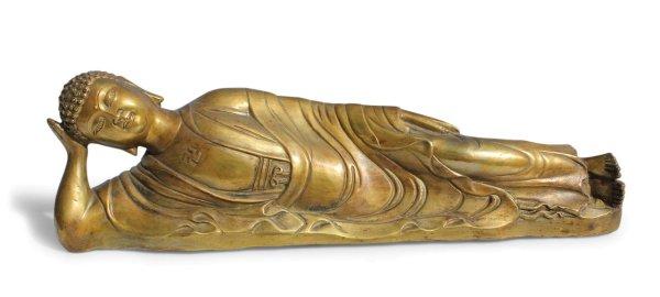 Nirvana Buddha Figur aus Bronze