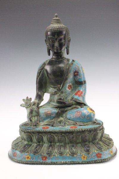 Cloisonne Medizin Buddha Figur aus Bronze