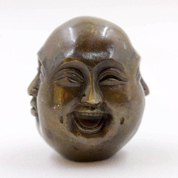 Happy Buddha Kopf 4 Faces (6cm) Bronze