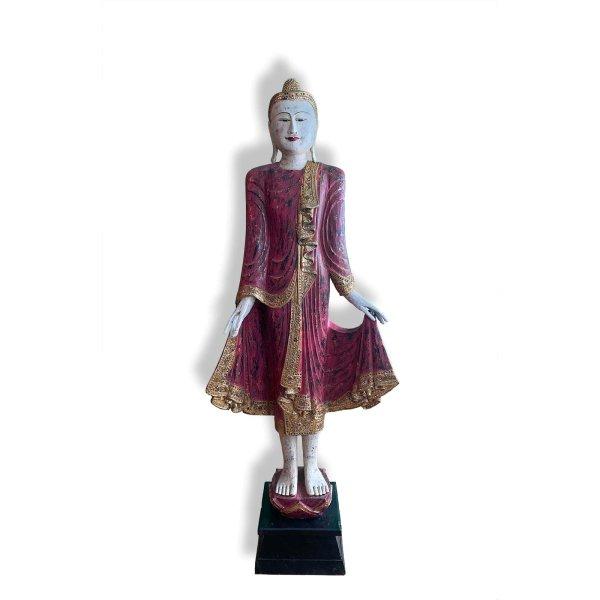 Thailändische Buddha Statue (170cm) Stehende Holz Figur